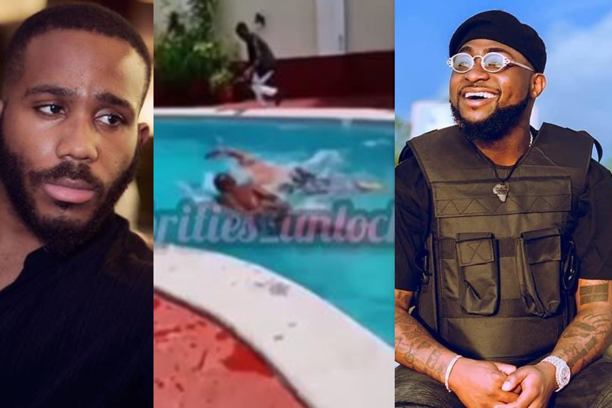 How Davido beats Kiddwaya in a swimming competition (Video)